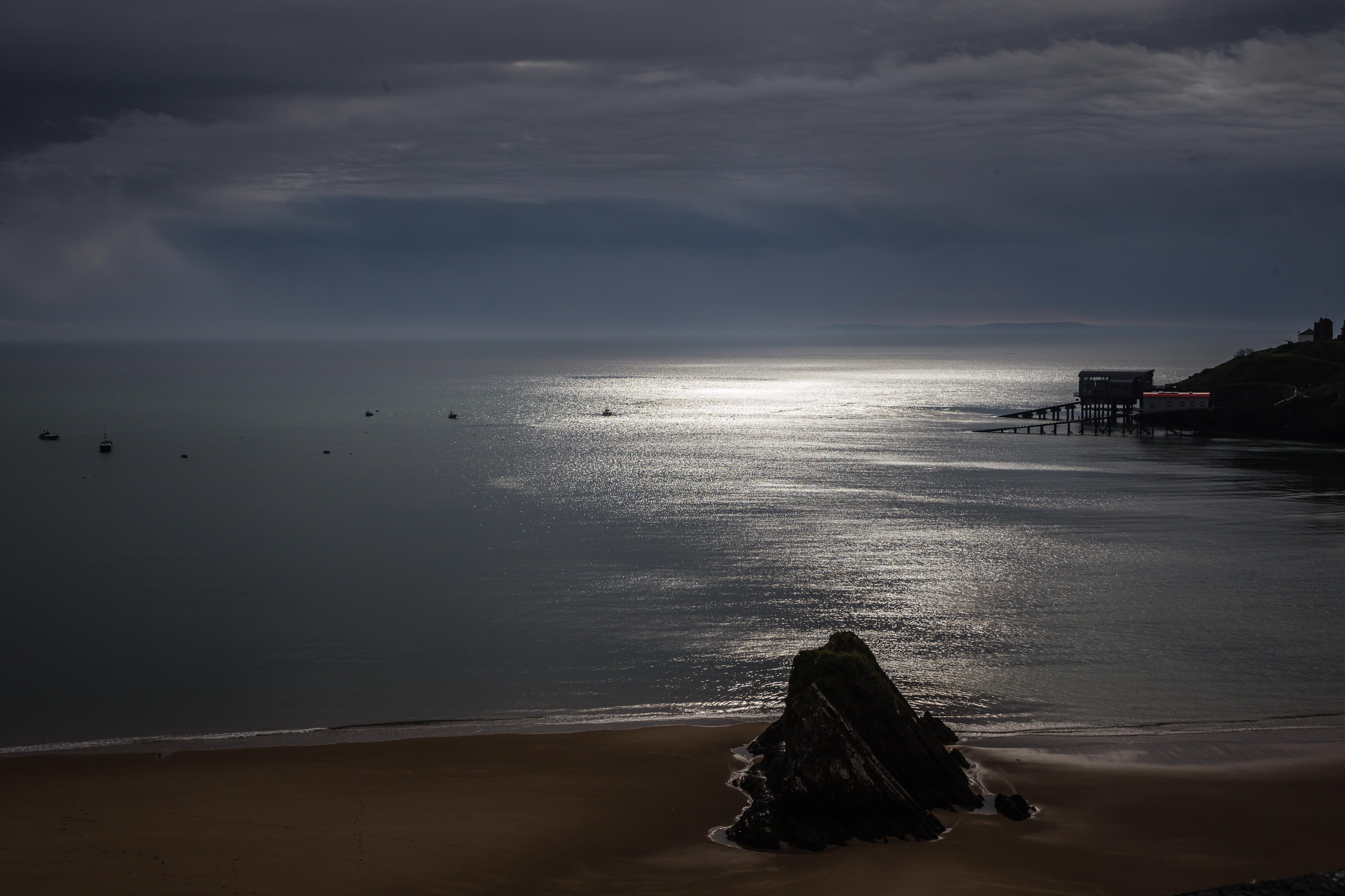 Tenby Harbour in moonlight