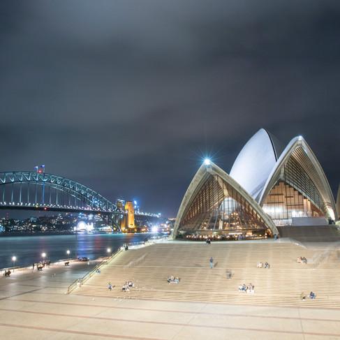 Sydney Opera House with Sydney Harbour bridge in background