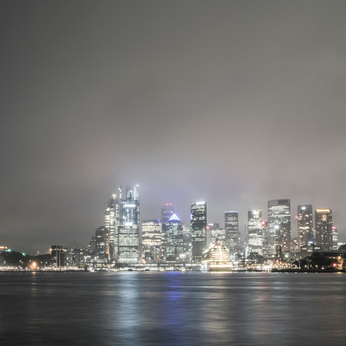 Sydney Opera House and City Scape in low cloud.