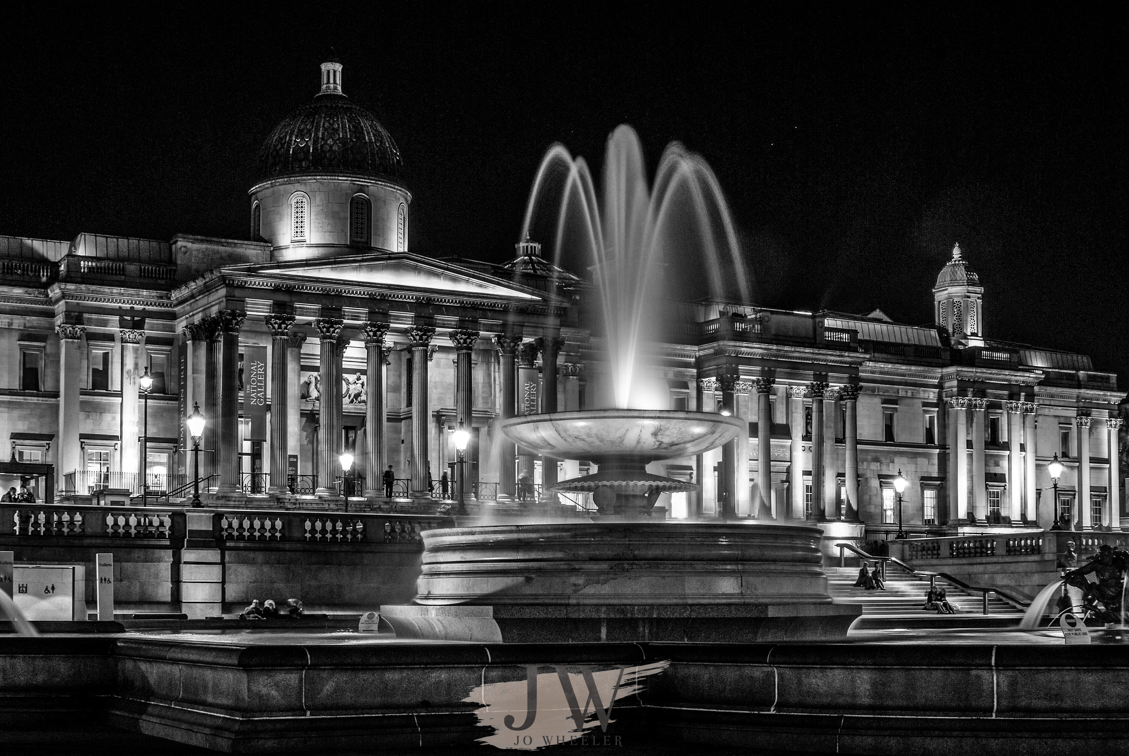 A view of the fountains in Trafalgar Square