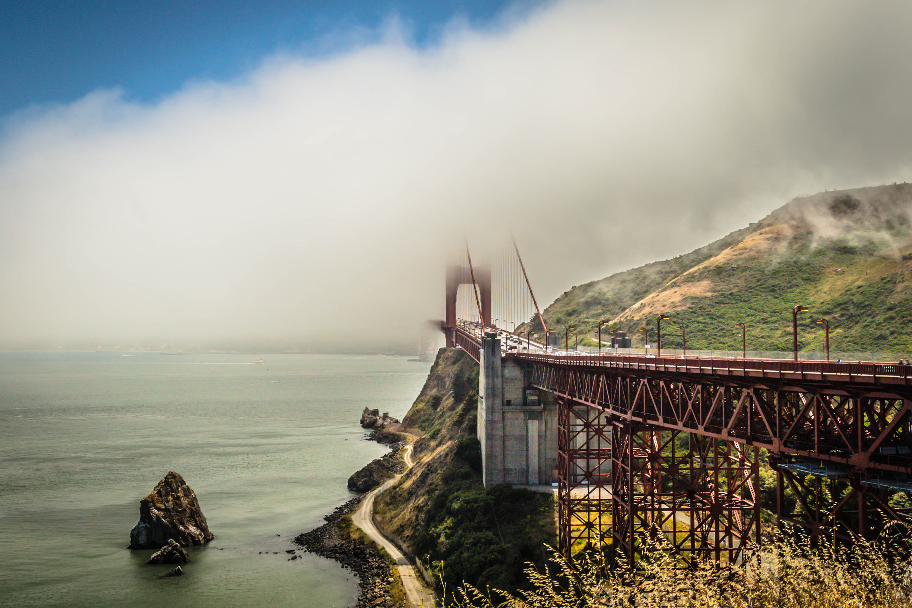 Golden Gate Bridge in sea fog