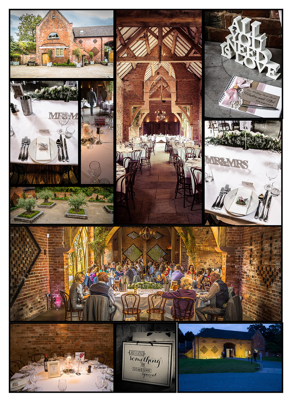 Composite of pictures from Shustoke Farm Barns.