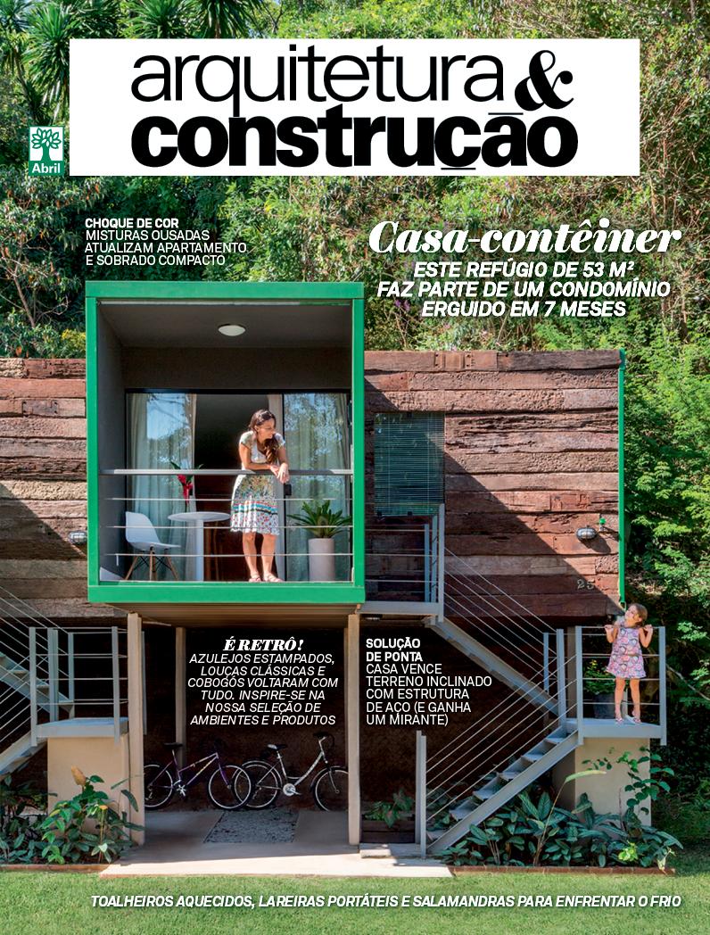 Capa da Revista Arquitetura & Construção - Edição de Junho com destaque para lareiras ecológicas