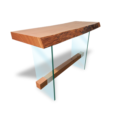 Wooden Console Table With Bark - APP05