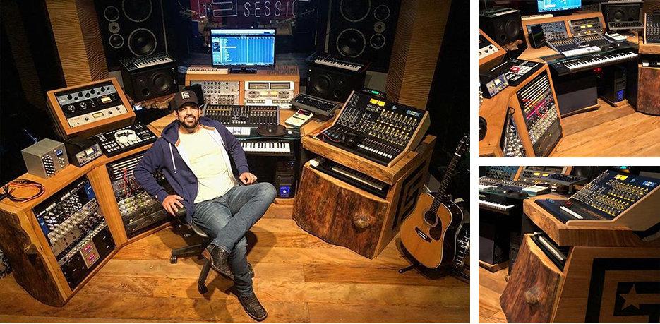 O estúdio de gravação do cantor Sorocaba foi todo projetado e fabricado pela ArboREAL. ArboREAL Móveis Rústicos em Madeira Maciça
