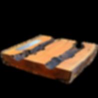 Mesa de centro dupla rústica em madeira maciça com lareira ecológica embutida. ArboREAL Móveis Rústicos em Madeira Maciça