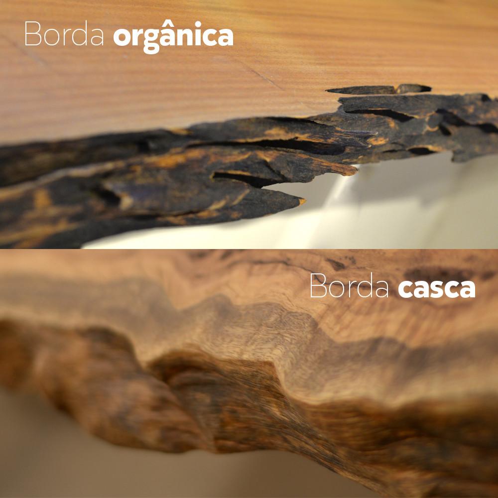 diferença entre acabamento em borda orgânica e borda casca em madeira maciça