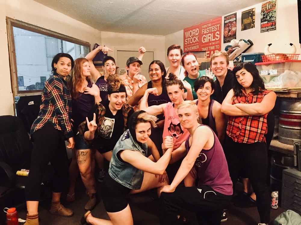 Iggy Perillo (back center) working with the Axles of Annihilation in 2018. Photography Credit: Kate Sprout