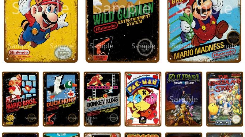 Classic Video Game Metal Retro Vintage Tin Signs