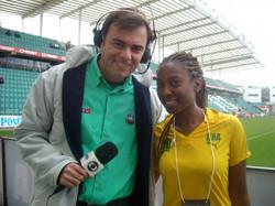 Entrevista para Globo Esporte antes de cantar o Hino do Brasil