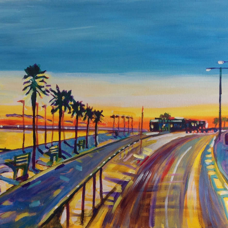 Palm Trees on Southend sunset / Malcolm Perry.