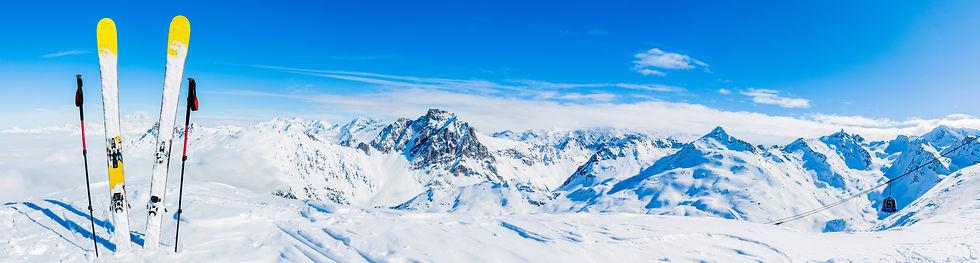 Ski in winter season, mountains and ski