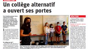 Nouvel article du Progrès sur l'ouverture du collège alternatif Etinç'ailes