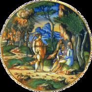 """Assiette """"Loth et ses filles"""" - Atelier d'Urbino d'après Hans Sebalm BEHAM (Nuremberg 1500 – Francfort 1550) - Urbino (Italie) - 1560/1570"""