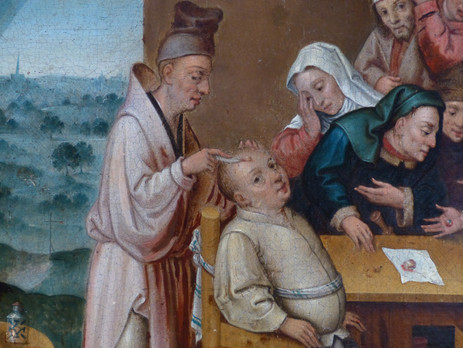 """""""L'extraction de la pierre de folie"""" (détail) - Henri MET DE BLES (attribué à) - Flandre - 16e siècle"""