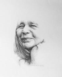 """""""Portrait de Marguerite Yourcenar"""", Béatrice Cleeve, France, 1983, plume sur papier ©MBDP"""