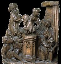 """Fragments de retable """"Naissance de Saint Jean-Baptiste"""" -  Brabant (Bois-le-Duc? Pays-Bas) - 15e siècle"""