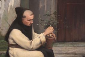 """""""Le Trappiste jardinier dans une cour intérieure de l'abbaye du Mont des Cats"""" (détail) - Emile SALOME - France - 1877"""