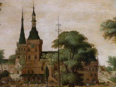 """""""Kermesse flamande"""" ou """"Place de Bailleul vers 1620"""" (détail) - Jacob SAVERY dit le Jeune (1592-1627)"""