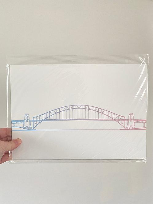Sydney Harbour Bridge - Sunset Blue (A4 Size)
