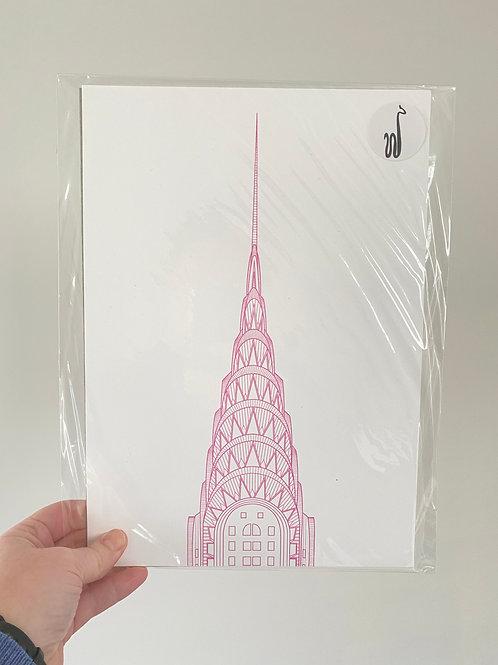 Chrysler Building - Pink (A4 Size)