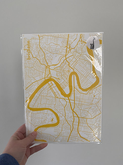 I left my heart in Brisbane - Yellow (A4 Size)