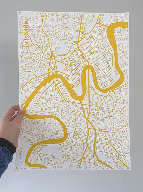 I left my heart in Brisbane - Yellow (A3 size)