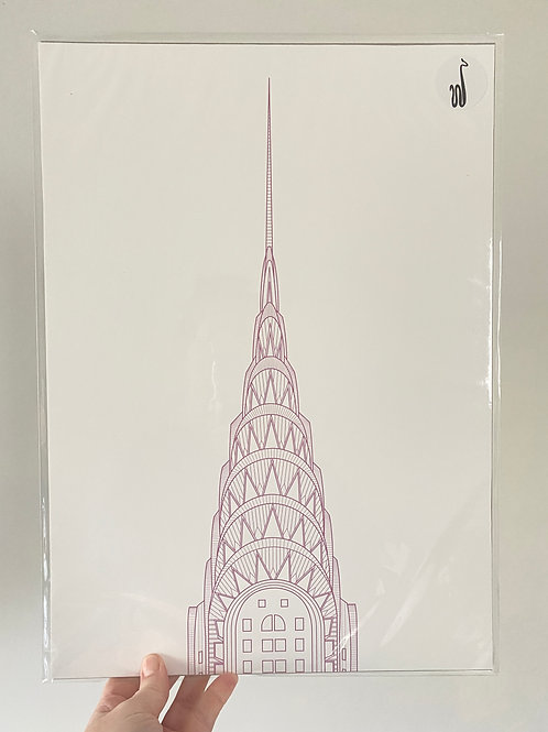 Chrysler Building - One-of-a-kind Purple (A3 size)