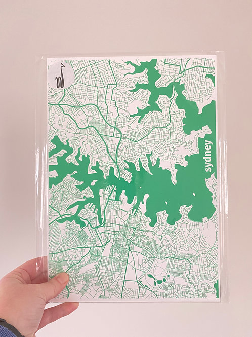 I left my heart in Sydney - Green (A4 Size)