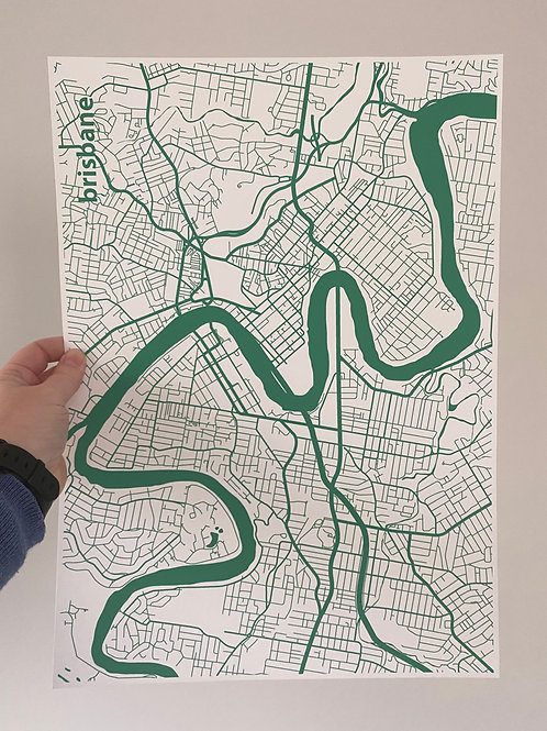 I left my heart in Brisbane - Green (A3 size)