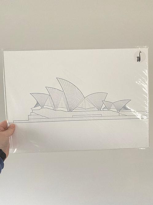 Sydney Opera House - Grey (A3 size)