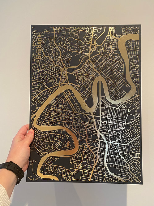 I left my heart in Brisbane - Gold Foil on Navy (A3 size)