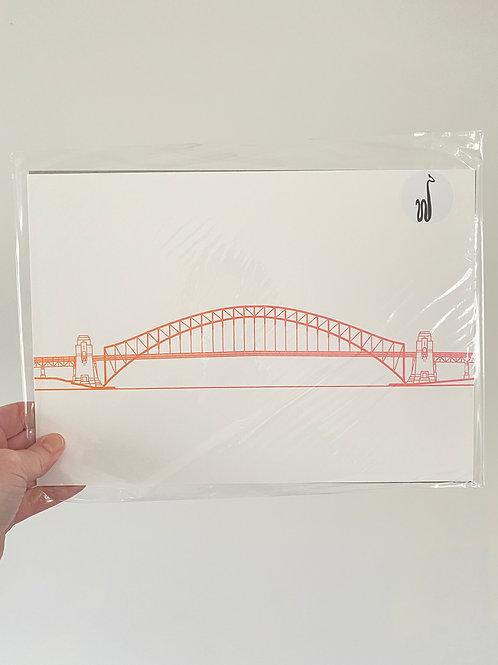 Sydney Harbour Bridge - Sunset Orange (A4 Size)