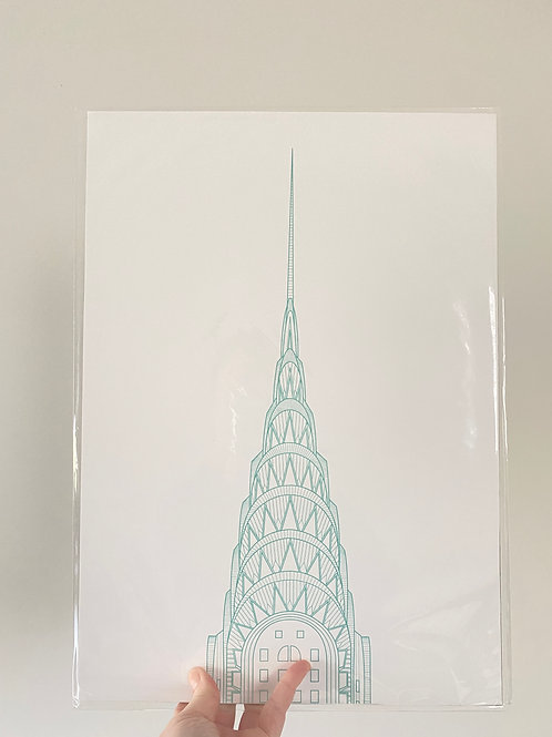 Chrysler Building - Turquoise (A3 size)