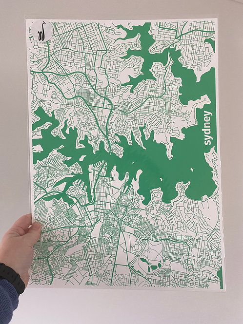 I left my heart in Sydney - Green (A3 size)