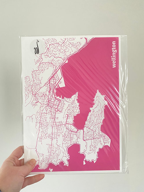 I left my heart in Wellington - Pink (A4 Size)