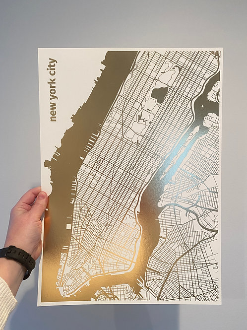 I left my heart in New York City - Gold Foil on White (A3 size)