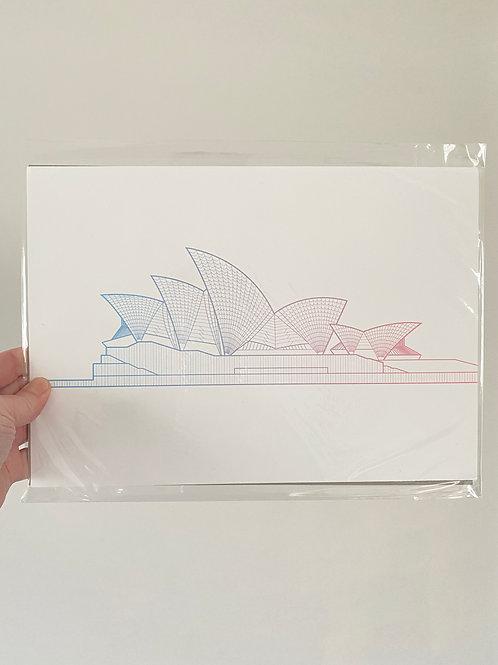Sydney Opera House - Sunset Blue (A4 Size)