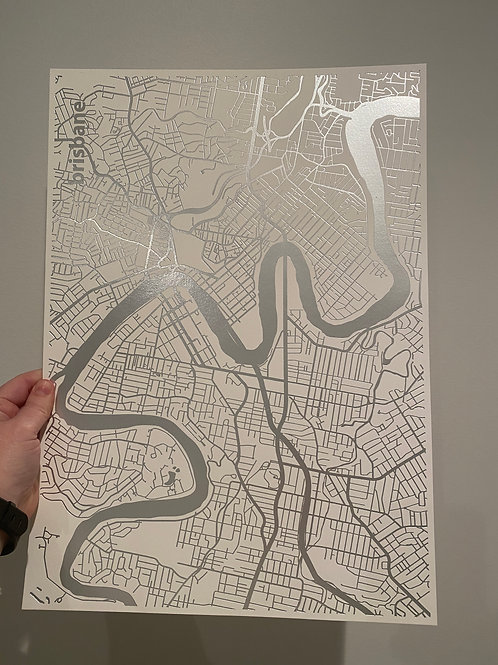 I left my heart in Brisbane - Silver Foil on White (A3 size)