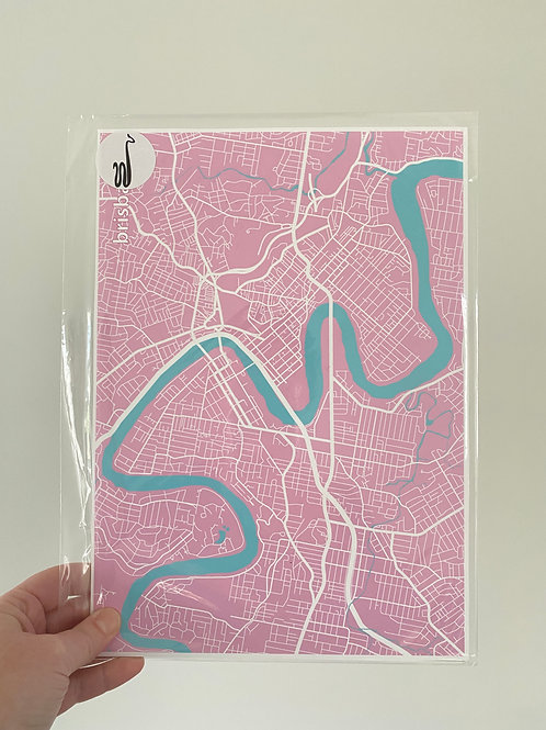I left my heart in Brisbane - Multi Colour Pink and Blue (A4 Size)
