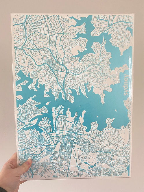 I left my heart in Sydney - Blue Foil on White (A3 size)