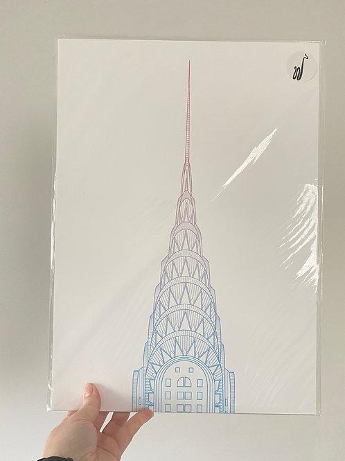 Chrysler Building - Sunset Blue (A3 size)