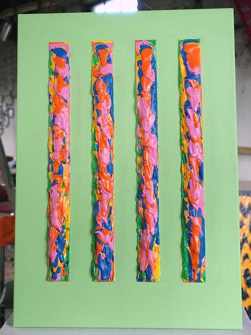 4 bars on green - acrylic on canvas - 35x51cm