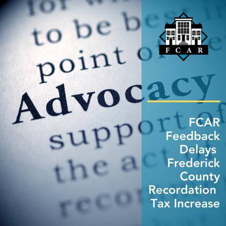 FCAR Feedback Delays Frederick County Recordation Tax Increase
