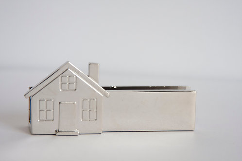 Silver House Business Card Holder