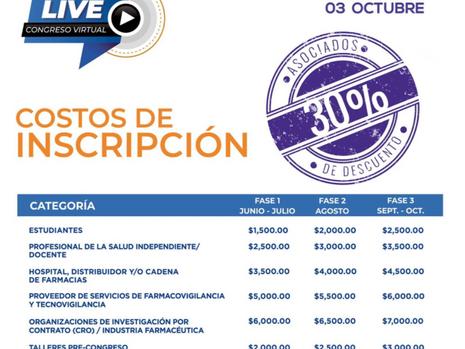 Costos de inscripción Congreso Virtual