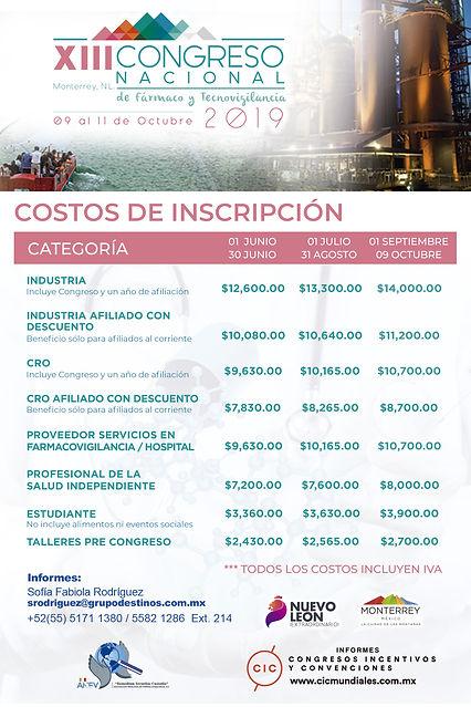 Costos de Inscripción Congreso Mexicano de Farmacovigilancia