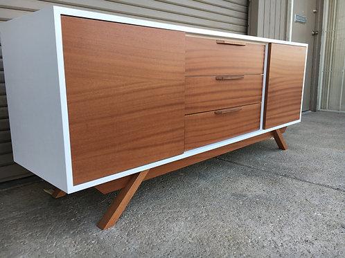 (Mah7) White & Mahogany 2 Door / 3 Drawer  - Angled Leg - Free Shipping!
