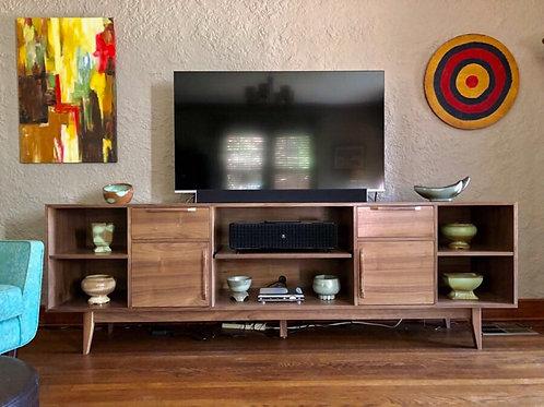 "(W26) Walnut 96"" Hand Built Mid Century Style TV Cabinet -  Free Shipping"