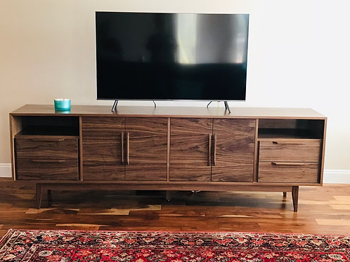 (W30) Mid Century Style 8' Media Console in Walnut - Free Shipping!
